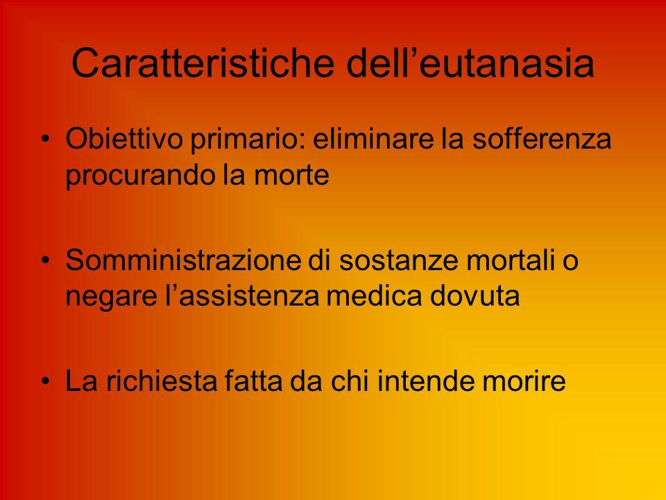 Caratteristiche dell'eutanasia Obiettivo primario: eliminare la sofferenza procurando la morte Somministrazione di sostanze mortali o negare l'assiste