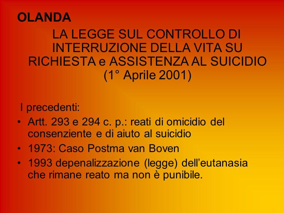 OLANDA LA LEGGE SUL CONTROLLO DI INTERRUZIONE DELLA VITA SU RICHIESTA e ASSISTENZA AL SUICIDIO (1° Aprile 2001) I precedenti: Artt. 293 e 294 c. p.: r