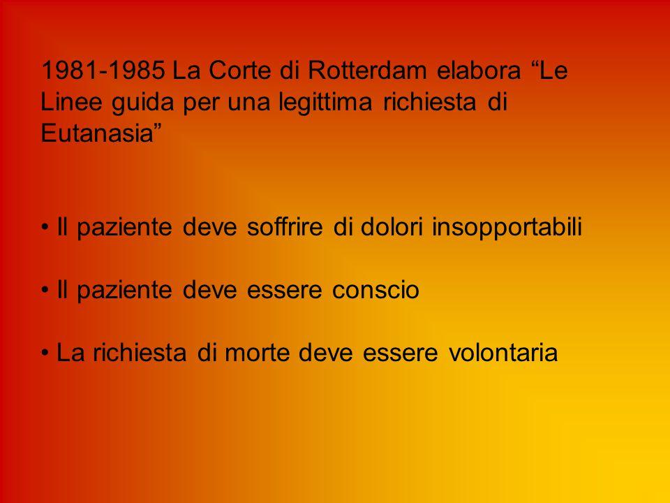 """1981-1985 La Corte di Rotterdam elabora """"Le Linee guida per una legittima richiesta di Eutanasia"""" Il paziente deve soffrire di dolori insopportabili I"""