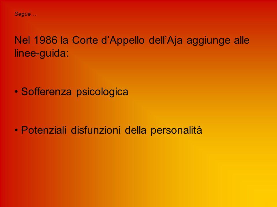 Segue… Nel 1986 la Corte d'Appello dell'Aja aggiunge alle linee-guida: Sofferenza psicologica Potenziali disfunzioni della personalità