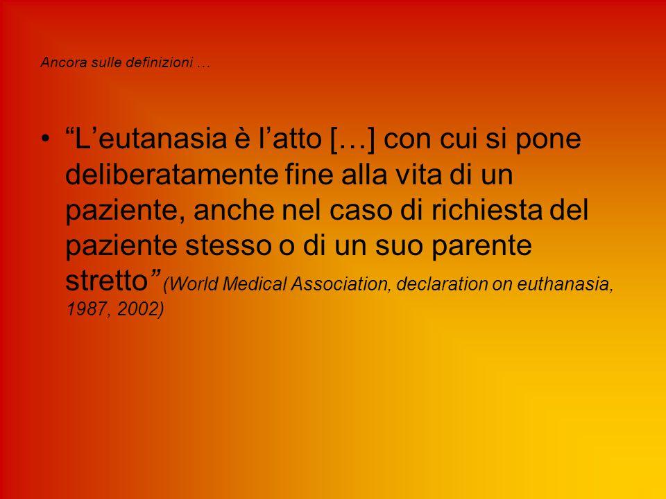 1981-1985 La Corte di Rotterdam elabora Le Linee guida per una legittima richiesta di Eutanasia Il paziente deve soffrire di dolori insopportabili Il paziente deve essere conscio La richiesta di morte deve essere volontaria