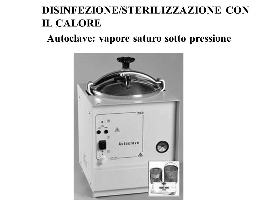 Autoclave: vapore saturo sotto pressione DISINFEZIONE/STERILIZZAZIONE CON IL CALORE