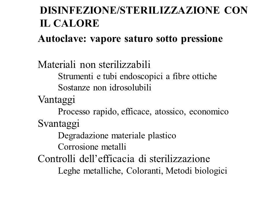 Autoclave: vapore saturo sotto pressione Materiali non sterilizzabili Strumenti e tubi endoscopici a fibre ottiche Sostanze non idrosolubili Vantaggi