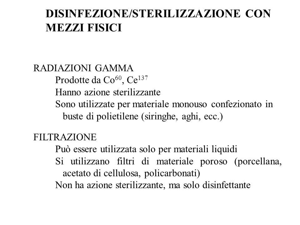 RADIAZIONI GAMMA Prodotte da Co 60, Ce 137 Hanno azione sterilizzante Sono utilizzate per materiale monouso confezionato in buste di polietilene (siri
