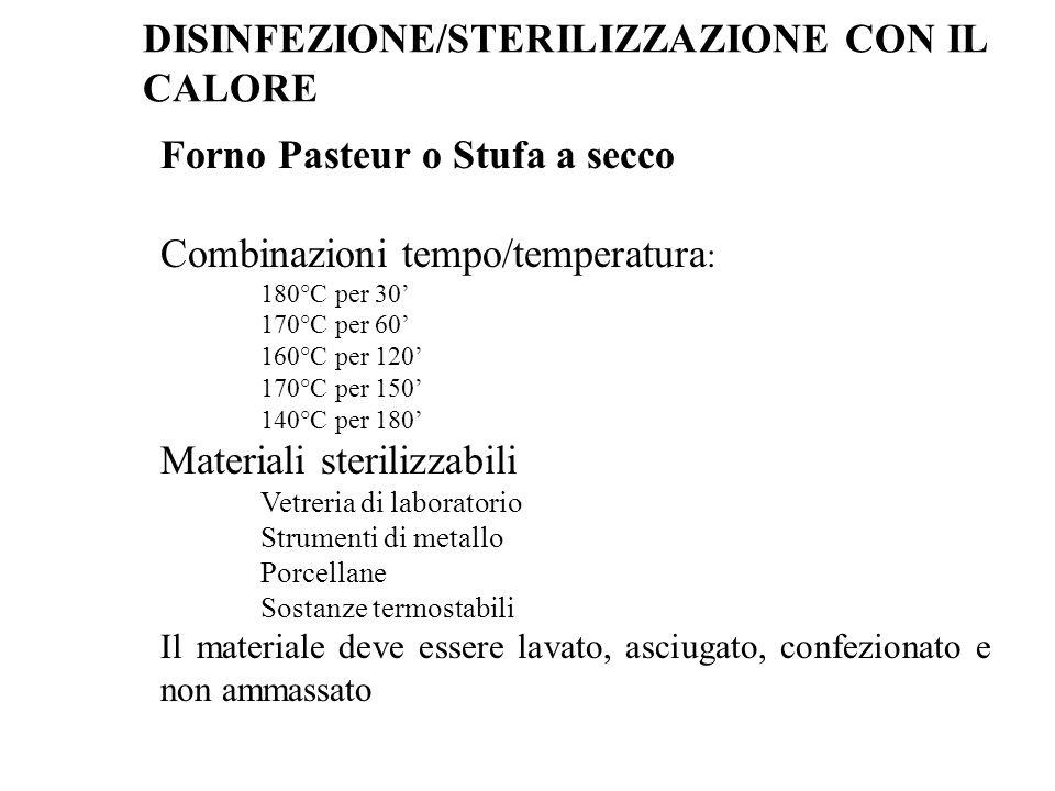 Forno Pasteur o Stufa a secco Combinazioni tempo/temperatura : 180°C per 30' 170°C per 60' 160°C per 120' 170°C per 150' 140°C per 180' Materiali ster
