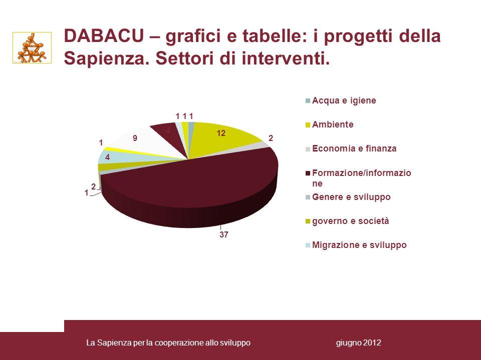 DABACU – grafici e tabelle: i progetti della Sapienza.