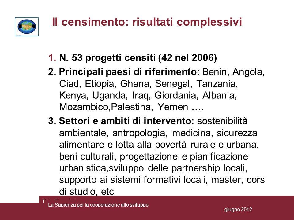 Distribuzione dei progetti censiti per aree geografiche La Sapienza per la cooperazione allo sviluppo giugno 2012