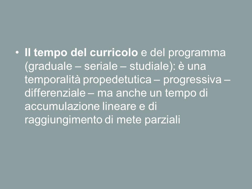 Il tempo del curricolo e del programma (graduale – seriale – studiale): è una temporalità propedetutica – progressiva – differenziale – ma anche un tempo di accumulazione lineare e di raggiungimento di mete parziali