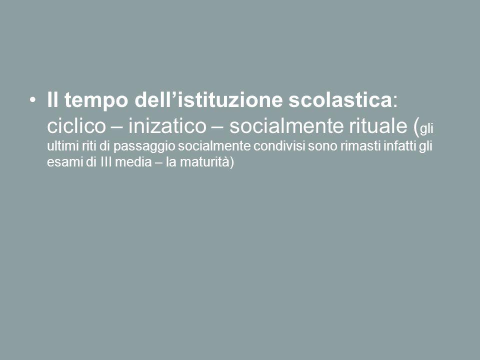 Il tempo dell'istituzione scolastica: ciclico – inizatico – socialmente rituale ( gli ultimi riti di passaggio socialmente condivisi sono rimasti infatti gli esami di III media – la maturità)