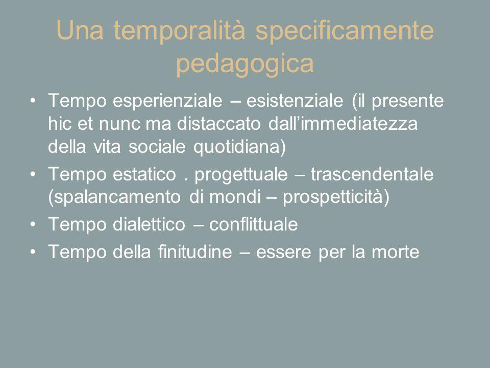 Una temporalità specificamente pedagogica Tempo esperienziale – esistenziale (il presente hic et nunc ma distaccato dall'immediatezza della vita socia