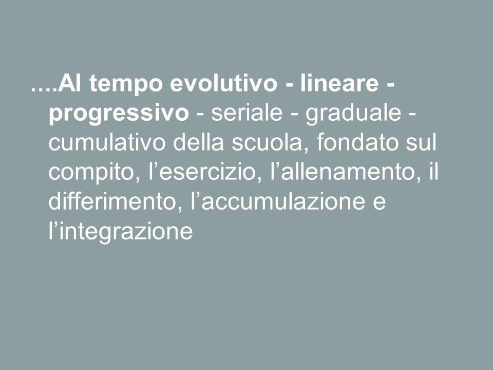 …. Al tempo evolutivo - lineare - progressivo - seriale - graduale - cumulativo della scuola, fondato sul compito, l'esercizio, l'allenamento, il diff