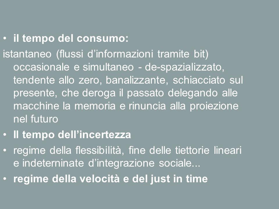 il tempo del consumo: istantaneo (flussi d'informazioni tramite bit) occasionale e simultaneo - de-spazializzato, tendente allo zero, banalizzante, sc