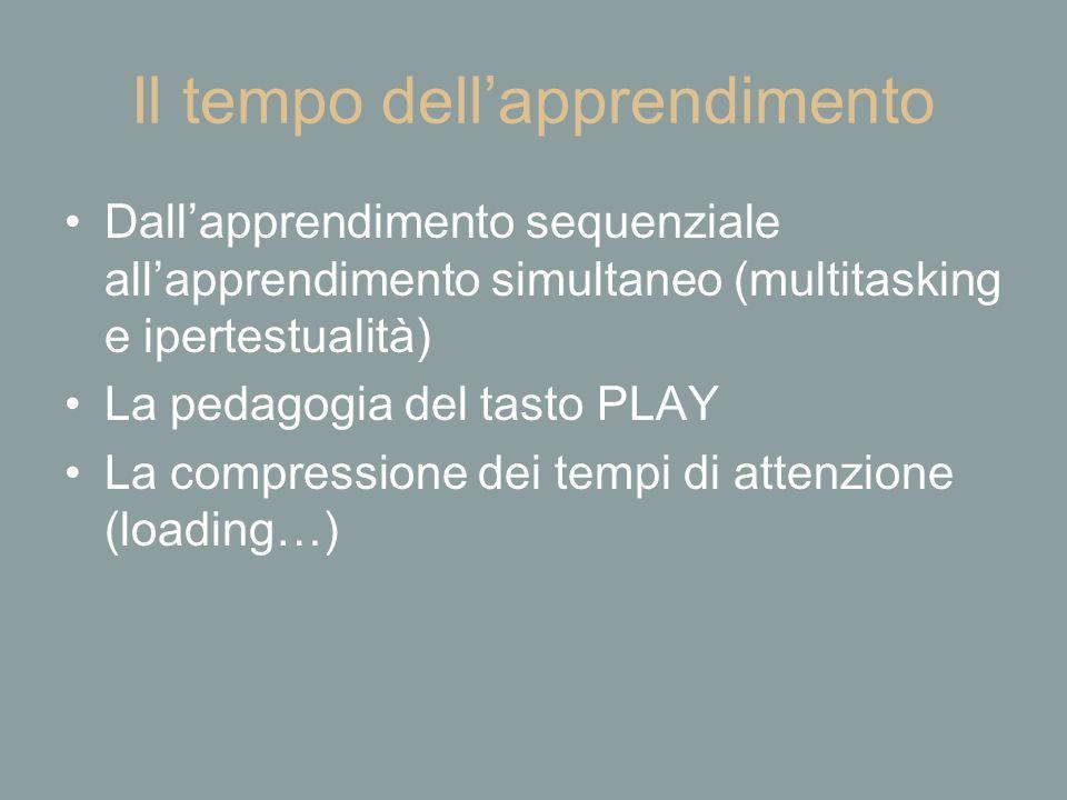 Il tempo dell'apprendimento Dall'apprendimento sequenziale all'apprendimento simultaneo (multitasking e ipertestualità) La pedagogia del tasto PLAY La compressione dei tempi di attenzione (loading…)
