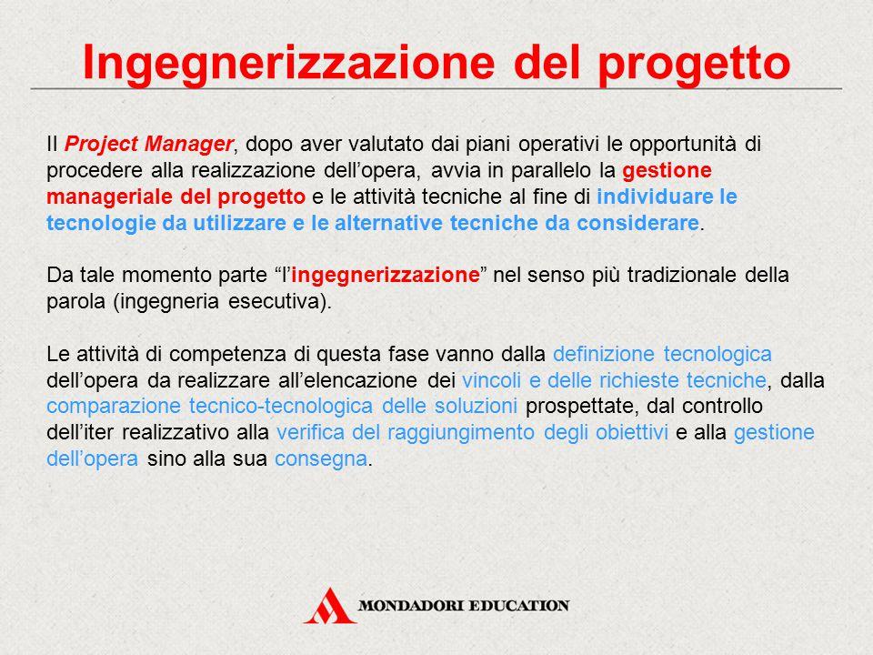 Ingegnerizzazione del progetto Il Project Manager, dopo aver valutato dai piani operativi le opportunità di procedere alla realizzazione dell'opera, a
