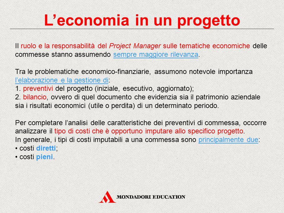 L'economia in un progetto Il ruolo e la responsabilità del Project Manager sulle tematiche economiche delle commesse stanno assumendo sempre maggiore