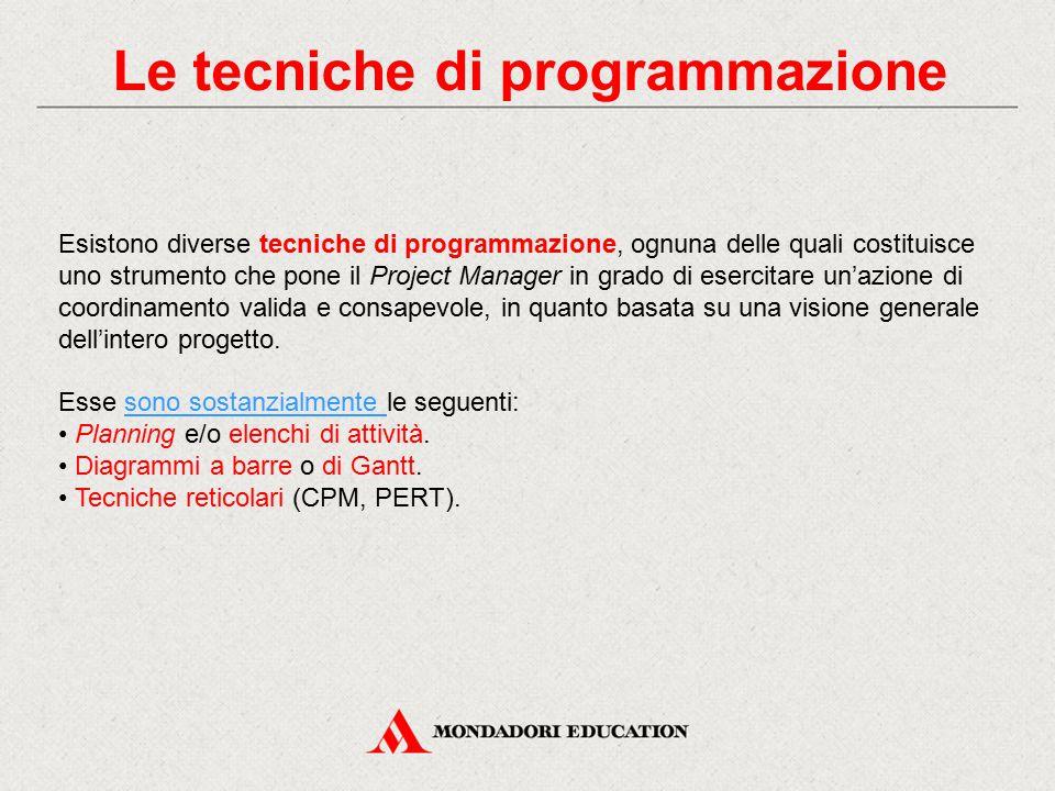 Le tecniche di programmazione Esistono diverse tecniche di programmazione, ognuna delle quali costituisce uno strumento che pone il Project Manager in