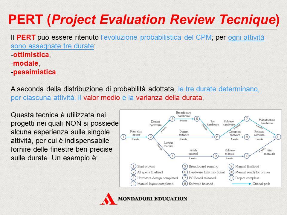 PERT (Project Evaluation Review Tecnique) Il PERT può essere ritenuto l'evoluzione probabilistica del CPM; per ogni attività sono assegnate tre durate