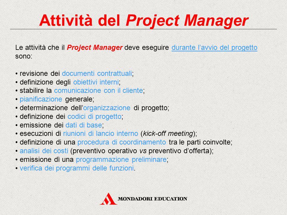 Attività del Project Manager Le attività che il Project Manager deve eseguire durante l'avvio del progetto sono: revisione dei documenti contrattuali;