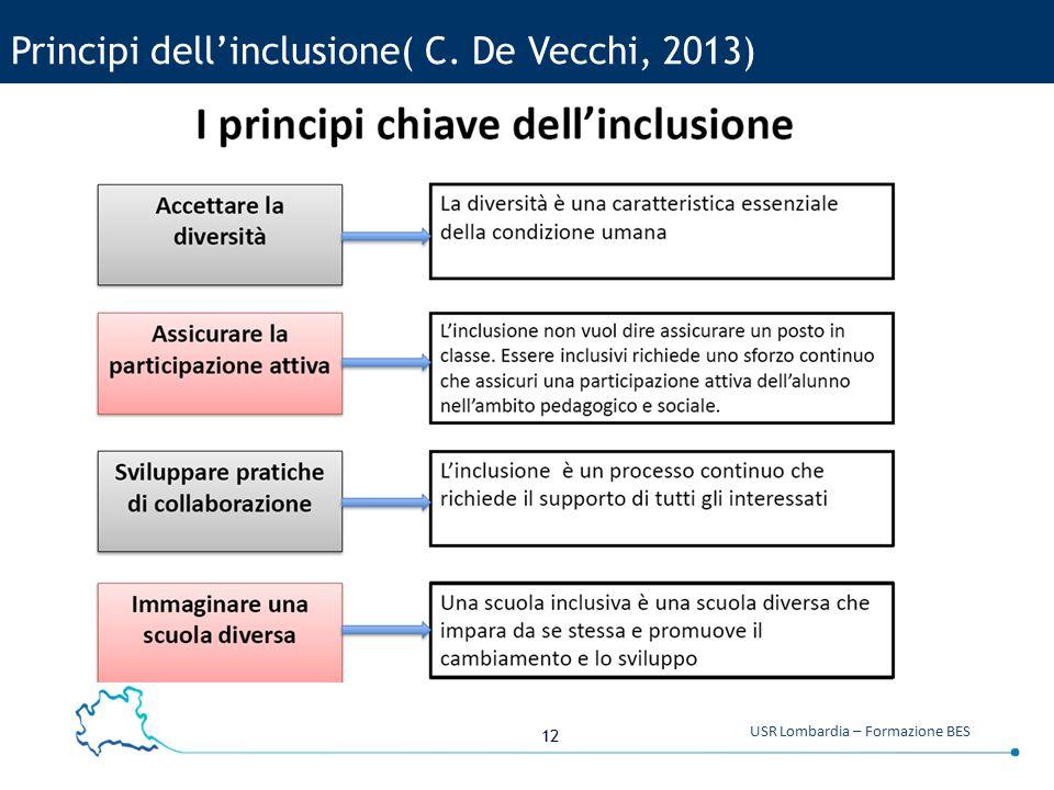 12 USR Lombardia – Formazione BES Principi dell'inclusione( C. De Vecchi, 2013)
