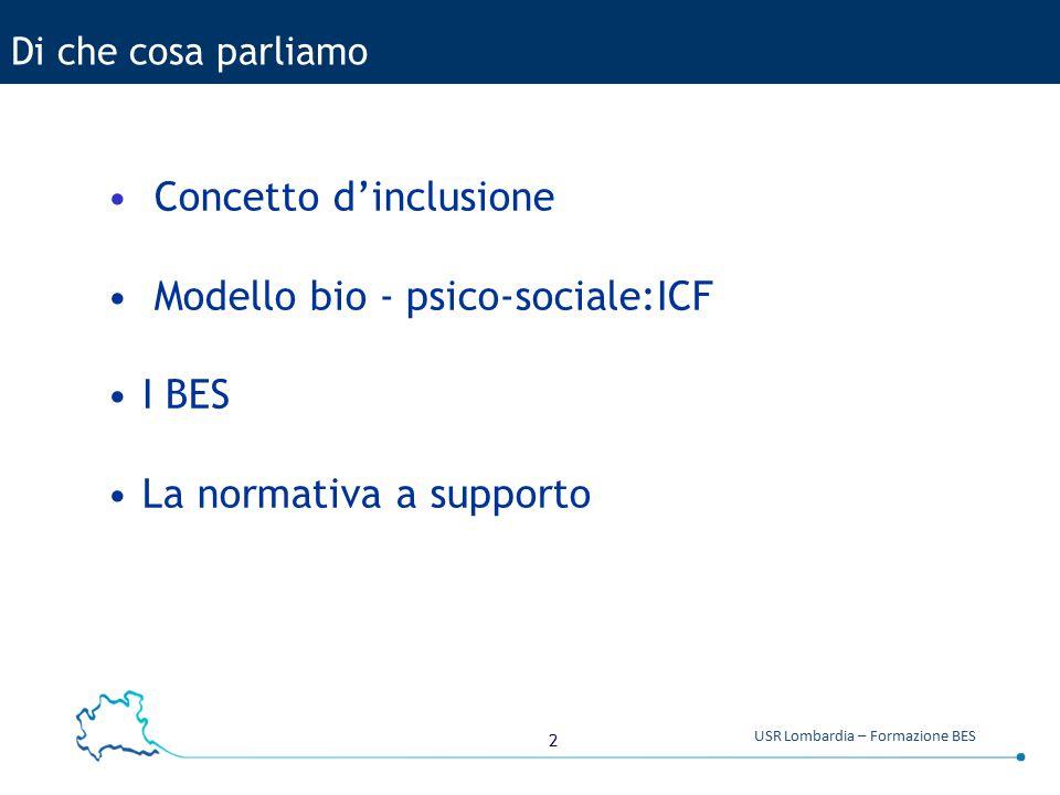 2 USR Lombardia – Formazione BES Di che cosa parliamo Concetto d'inclusione Modello bio - psico-sociale:ICF I BES La normativa a supporto