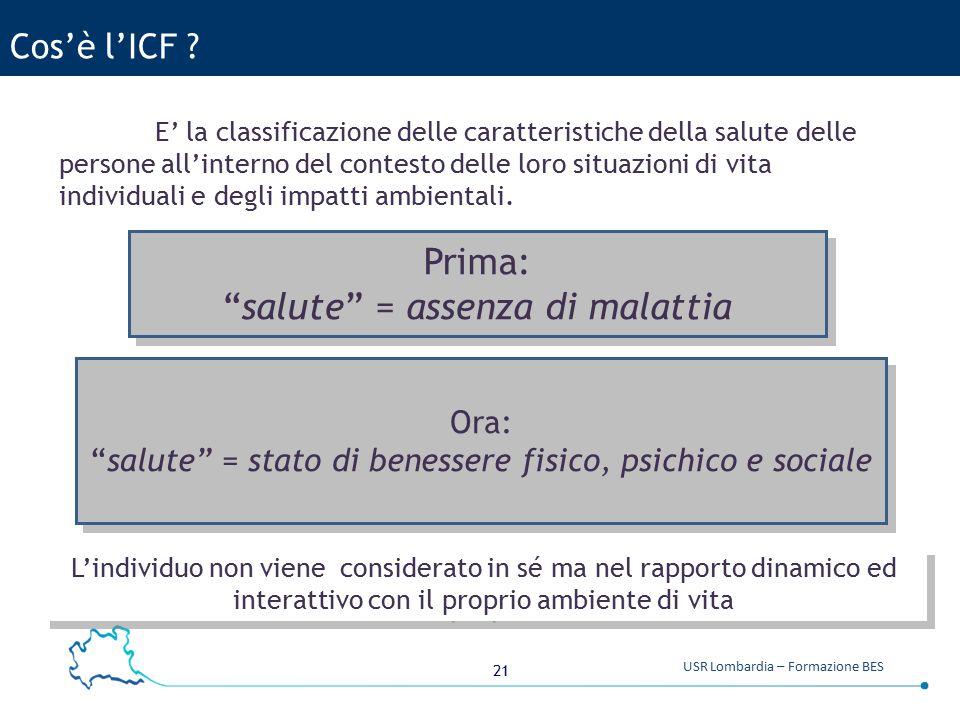 21 USR Lombardia – Formazione BES Cos'è l'ICF .