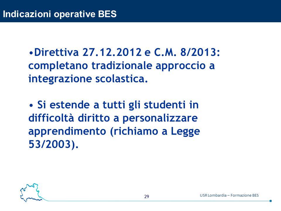 29 USR Lombardia – Formazione BES Indicazioni operative BES Direttiva 27.12.2012 e C.M.