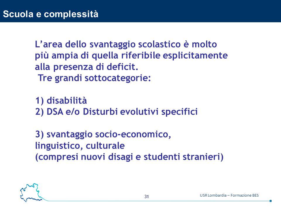 31 USR Lombardia – Formazione BES Scuola e complessità L'area dello svantaggio scolastico è molto più ampia di quella riferibile esplicitamente alla presenza di deficit.