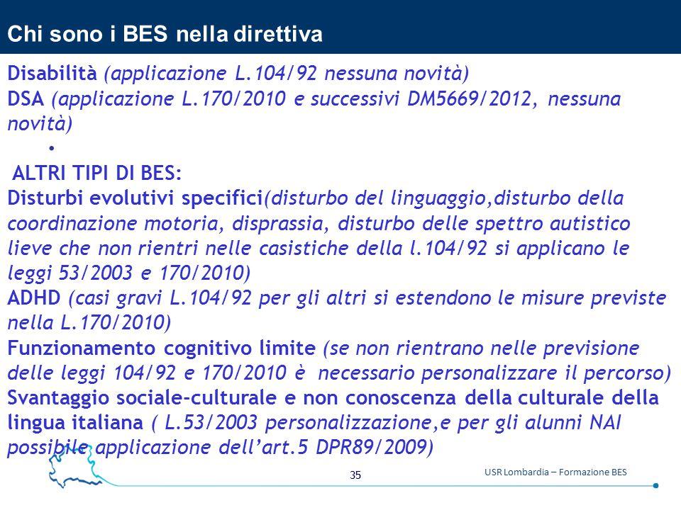 35 USR Lombardia – Formazione BES Chi sono i BES nella direttiva.