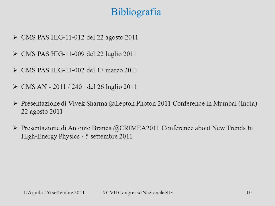 L'Aquila, 26 settembre 2011XCVII Congresso Nazionale SIF10 Bibliografia  CMS PAS HIG-11-012 del 22 agosto 2011  CMS PAS HIG-11-009 del 22 luglio 201