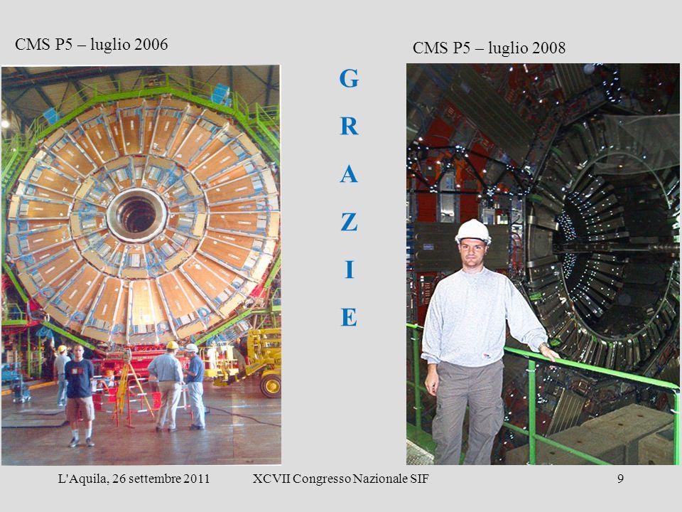 CMS P5 – luglio 2006 CMS P5 – luglio 2008 GRAZIEGRAZIE L Aquila, 26 settembre 2011XCVII Congresso Nazionale SIF9