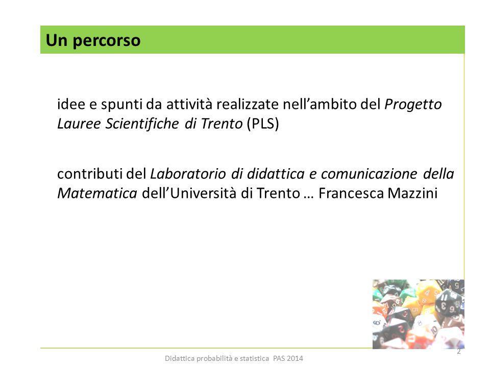 Un percorso idee e spunti da attività realizzate nell'ambito del Progetto Lauree Scientifiche di Trento (PLS) contributi del Laboratorio di didattica