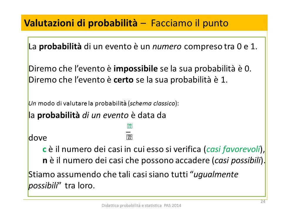 Un modo di valutare la probabilità (schema classico): la probabilità di un evento è data da dove c è il numero dei casi in cui esso si verifica (casi