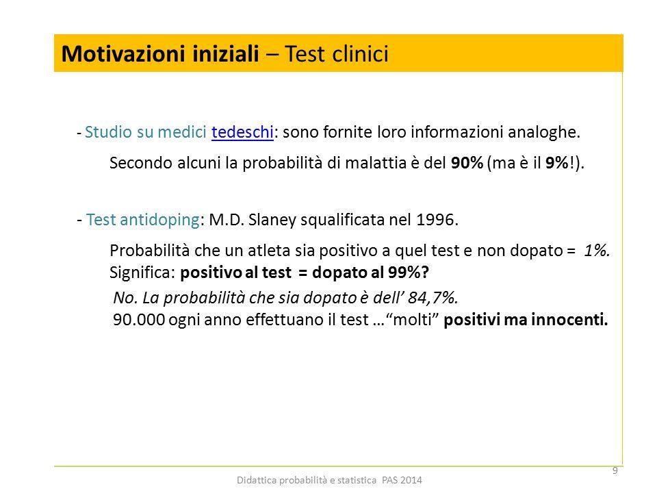 Motivazioni iniziali – Test clinici - Studio su medici tedeschi: sono fornite loro informazioni analoghe.tedeschi Secondo alcuni la probabilità di mal