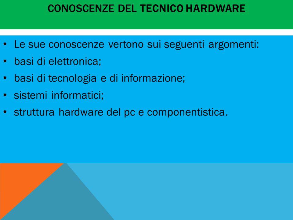 CONOSCENZE DEL TECNICO HARDWARE Le sue conoscenze vertono sui seguenti argomenti: basi di elettronica; basi di tecnologia e di informazione; sistemi informatici; struttura hardware del pc e componentistica.