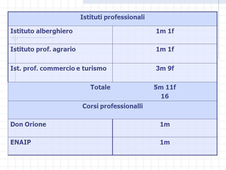 Istituti professionali Istituto alberghiero1m 1f Istituto prof. agrario1m 1f Ist. prof. commercio e turismo3m 9f Totale5m 11f 16 Corsi professionalli