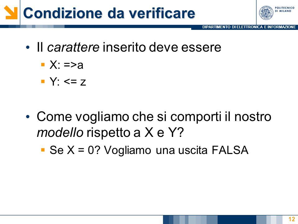 DIPARTIMENTO DI ELETTRONICA E INFORMAZIONE Condizione da verificare Il carattere inserito deve essere  X: =>a  Y: <= z Come vogliamo che si comporti il nostro modello rispetto a X e Y.