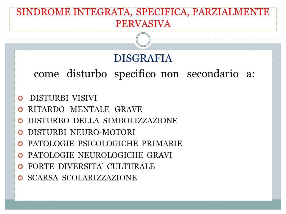 SINDROME INTEGRATA, SPECIFICA, PARZIALMENTE PERVASIVA DISGRAFIA come disturbo specifico non secondario a: DISTURBI VISIVI RITARDO MENTALE GRAVE DISTUR