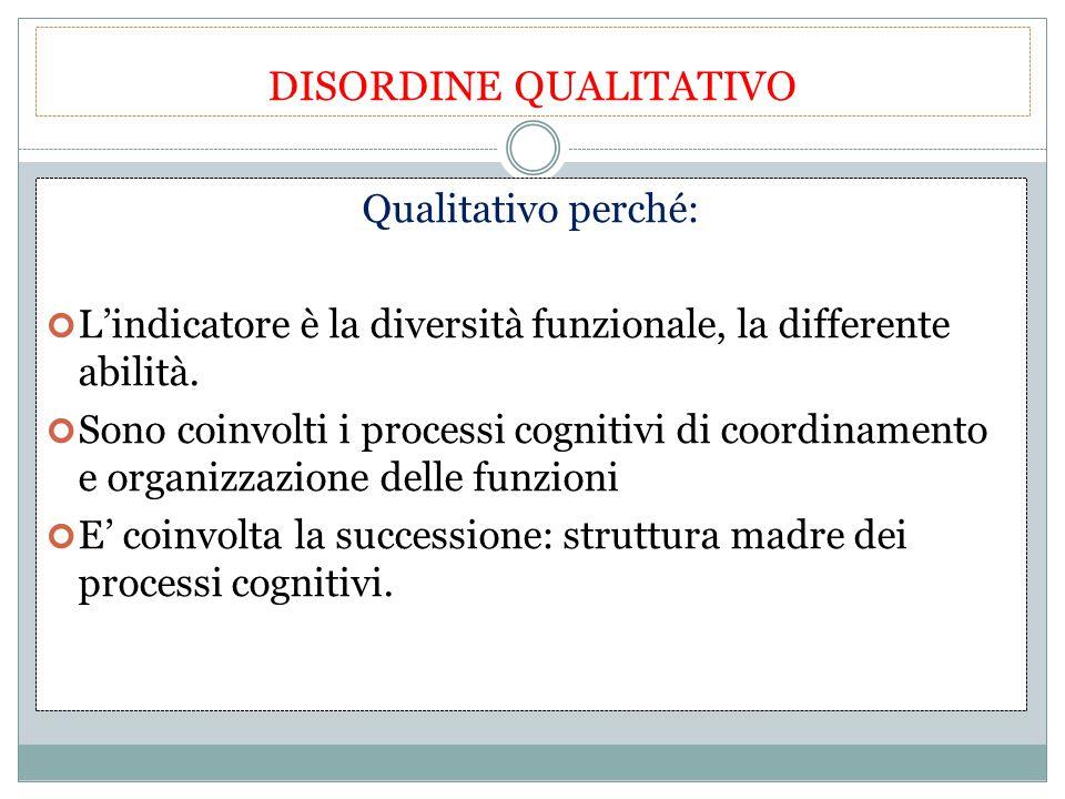 DISORDINE QUALITATIVO Qualitativo perché: L'indicatore è la diversità funzionale, la differente abilità. Sono coinvolti i processi cognitivi di coordi