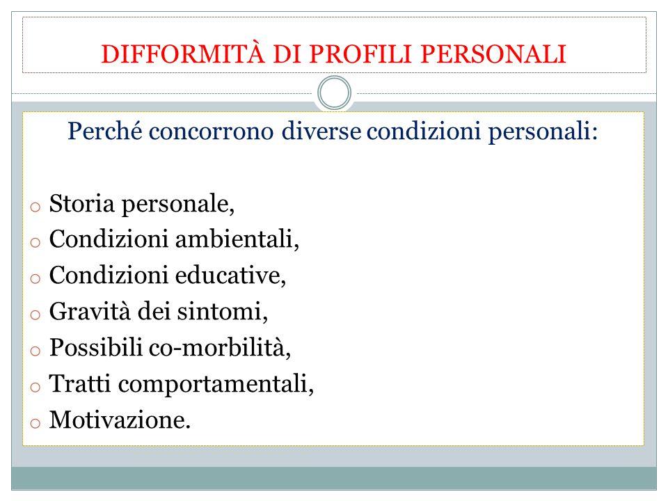 DIFFORMITÀ DI PROFILI PERSONALI Perché concorrono diverse condizioni personali: o Storia personale, o Condizioni ambientali, o Condizioni educative, o