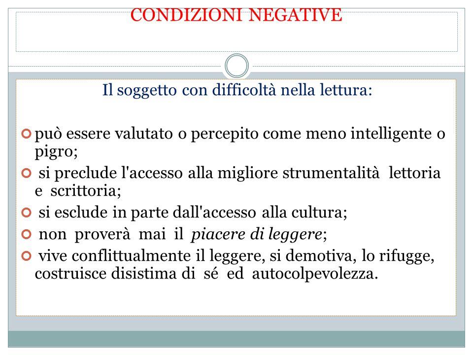 CONDIZIONI NEGATIVE Il soggetto con difficoltà nella lettura: può essere valutato o percepito come meno intelligente o pigro; si preclude l'accesso al