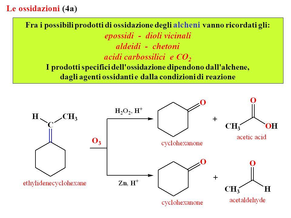 Le ossidazioni (4a) Fra i possibili prodotti di ossidazione degli alcheni vanno ricordati gli: epossidi - dioli vicinali aldeidi - chetoni acidi carbossilici e CO 2 I prodotti specifici dell ossidazione dipendono dall alchene, dagli agenti ossidanti e dalla condizioni di reazione