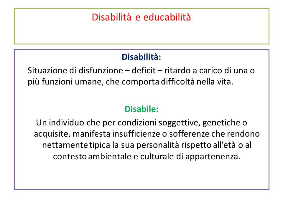 Disabilità e educabilità Disabilità: Situazione di disfunzione – deficit – ritardo a carico di una o più funzioni umane, che comporta difficoltà nella vita.