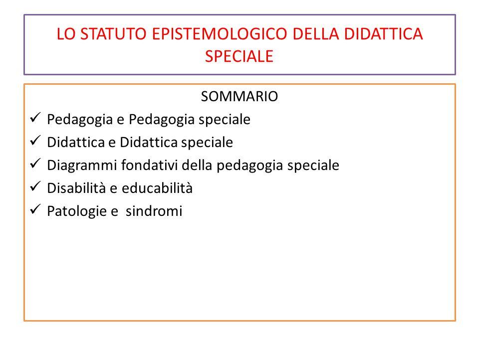 LO STATUTO EPISTEMOLOGICO DELLA DIDATTICA SPECIALE SOMMARIO Pedagogia e Pedagogia speciale Didattica e Didattica speciale Diagrammi fondativi della pedagogia speciale Disabilità e educabilità Patologie e sindromi