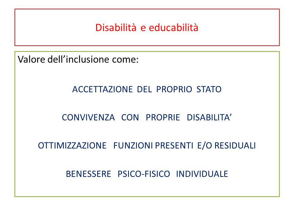 Disabilità e educabilità Valore dell'inclusione come: ACCETTAZIONE DEL PROPRIO STATO CONVIVENZA CON PROPRIE DISABILITA' OTTIMIZZAZIONE FUNZIONI PRESENTI E/O RESIDUALI BENESSERE PSICO-FISICO INDIVIDUALE