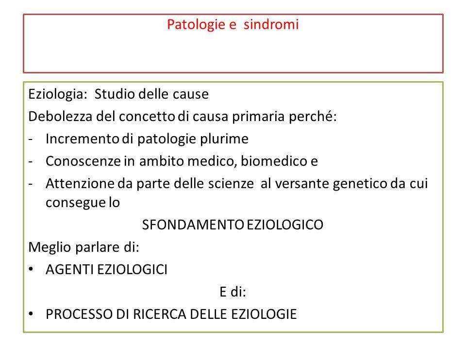 Patologie e sindromi Eziologia: Studio delle cause Debolezza del concetto di causa primaria perché: -Incremento di patologie plurime -Conoscenze in ambito medico, biomedico e -Attenzione da parte delle scienze al versante genetico da cui consegue lo SFONDAMENTO EZIOLOGICO Meglio parlare di: AGENTI EZIOLOGICI E di: PROCESSO DI RICERCA DELLE EZIOLOGIE