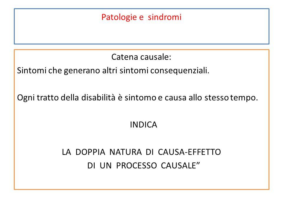 Patologie e sindromi Catena causale: Sintomi che generano altri sintomi consequenziali.