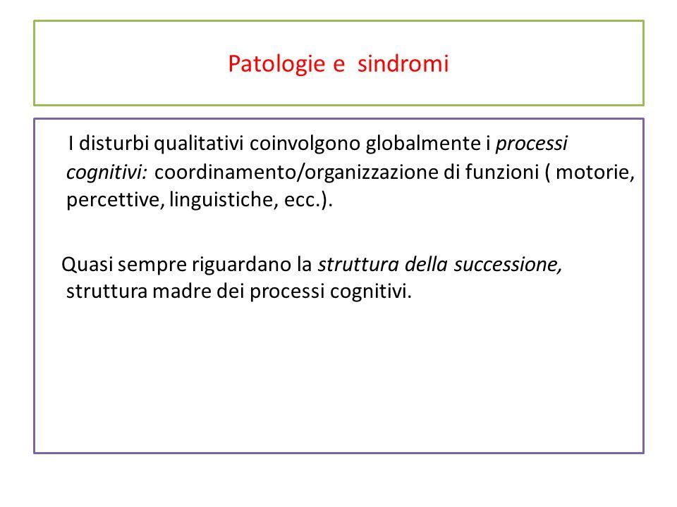 Patologie e sindromi I disturbi qualitativi coinvolgono globalmente i processi cognitivi: coordinamento/organizzazione di funzioni ( motorie, percettive, linguistiche, ecc.).