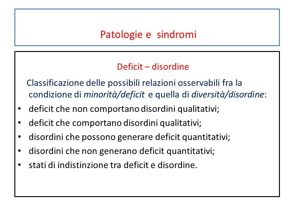 Patologie e sindromi Deficit – disordine Classificazione delle possibili relazioni osservabili fra la condizione di minorità/deficit e quella di diver