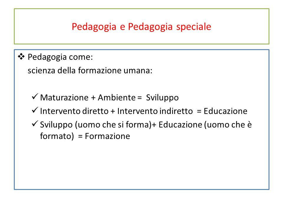 Pedagogia e Pedagogia speciale  Pedagogia come: scienza della formazione umana: Maturazione + Ambiente = Sviluppo Intervento diretto + Intervento ind