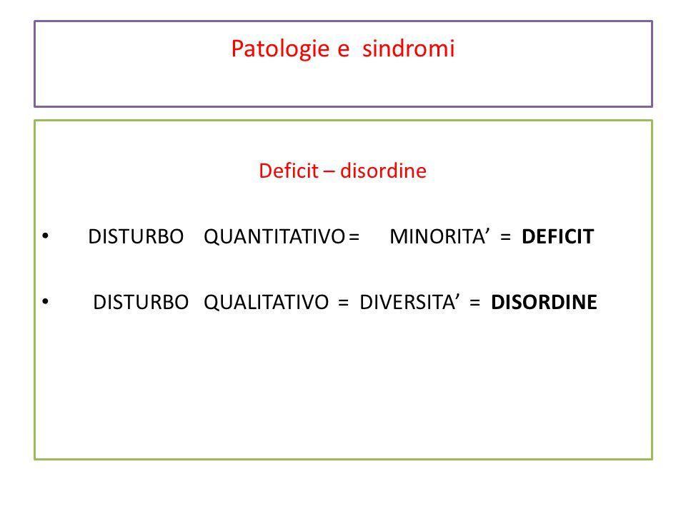 Patologie e sindromi Deficit – disordine DISTURBO QUANTITATIVO = MINORITA' =DEFICIT DISTURBO QUALITATIVO = DIVERSITA' = DISORDINE